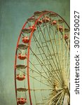 vintage retro red ferris wheel. ...   Shutterstock . vector #307250027