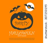 halloween party design template ... | Shutterstock .eps vector #307253195