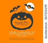 halloween party design template ... | Shutterstock .eps vector #307253195