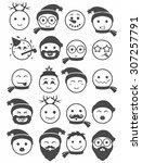 icons set 20 smiles winter in... | Shutterstock .eps vector #307257791
