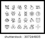 vector icon set in a modern... | Shutterstock .eps vector #307264835