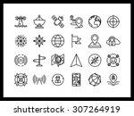 vector icon set in a modern... | Shutterstock .eps vector #307264919