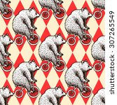 Stock vector sketch bear on a bike in vintage style vector seamless pattern 307265549
