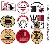 set bbq  grill  sausages ... | Shutterstock .eps vector #307267841
