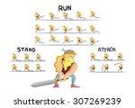 animation sprite viking warrior | Shutterstock .eps vector #307269239