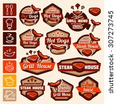 fast food and bbq grill... | Shutterstock .eps vector #307273745