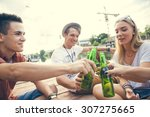 group of young cheerful people... | Shutterstock . vector #307275665