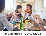 two couples eating pizza in... | Shutterstock . vector #307282025