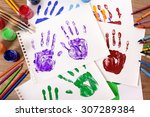 painted child hand prints with... | Shutterstock . vector #307289384