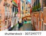 picturesque view of gondolas on ... | Shutterstock . vector #307295777