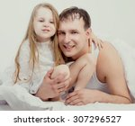 father and his five years old... | Shutterstock . vector #307296527