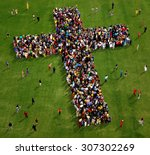 large group of people seen from ... | Shutterstock . vector #307302269