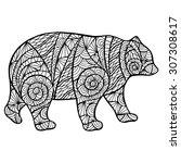 stylized bear zantangle... | Shutterstock .eps vector #307308617