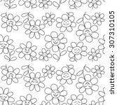 flower seamless pattern. black...   Shutterstock .eps vector #307310105