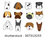 dogs freehand drawing vector... | Shutterstock .eps vector #307313255