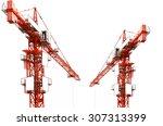 Red Hoisting Crane Isolate On...