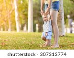 happy child making first steps...   Shutterstock . vector #307313774