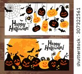 halloween background banners of ... | Shutterstock .eps vector #307322561