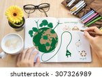 hand write notebook love earth... | Shutterstock . vector #307326989