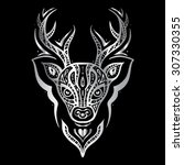 deer head. tribal pattern.... | Shutterstock .eps vector #307330355