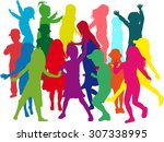 family silhouettes | Shutterstock .eps vector #307338995