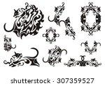tribal cat symbols. butterfly... | Shutterstock .eps vector #307359527