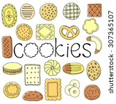 hand drawn cookie  set | Shutterstock .eps vector #307365107