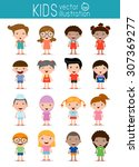 set of diverse kids isolated on ... | Shutterstock .eps vector #307369277