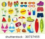 summer holidays icon set.... | Shutterstock .eps vector #30737455