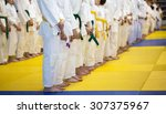 Small photo of Group of children in kimono standing on tatami on martial arts training seminar