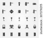 door lock icons set | Shutterstock .eps vector #307378295