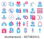 medical icon set. these flat... | Shutterstock . vector #307382411