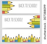 back to school colorful banners ... | Shutterstock .eps vector #307388099