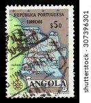 angola   circa 1955  a stamp... | Shutterstock . vector #307396301