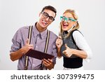 young nerds using digital... | Shutterstock . vector #307399475