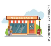 newsstand selling newspapers... | Shutterstock .eps vector #307400744