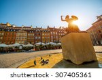 market square with fountain on... | Shutterstock . vector #307405361