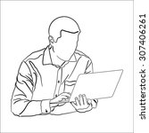 a man sitting with notebook.... | Shutterstock .eps vector #307406261