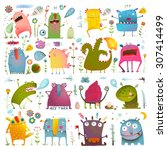 Fun Cute Cartoon Monsters For...