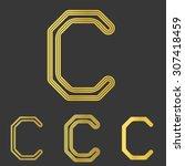 golden line letter c logo...