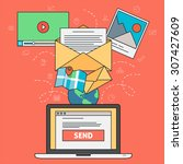email marketing concept with...   Shutterstock .eps vector #307427609