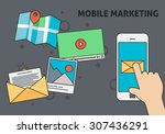 mobile marketing design with... | Shutterstock .eps vector #307436291