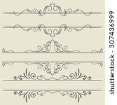 set. frames and borders. hand... | Shutterstock . vector #307436999