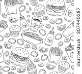 hand drawn fast food doodle... | Shutterstock .eps vector #307440287