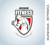 fitness logo template. gym club ... | Shutterstock .eps vector #307446311