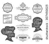 vector set of retro barber shop ... | Shutterstock .eps vector #307450025