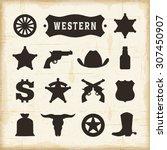 Vintage Western Icons Set....