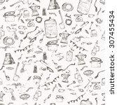 vector seamless vintage pattern ... | Shutterstock .eps vector #307455434
