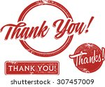 thank you rubber stamps | Shutterstock .eps vector #307457009