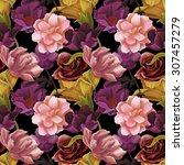 seamless tropical flower  plant ... | Shutterstock . vector #307457279
